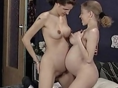Bushy pregnant lesbian babes and german threesome...