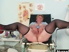 Unpretty obese older toys herself with gyno speculum