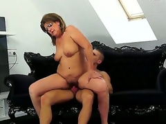 Mature woman in glasses named Gigi M acquires her bushy pussy drilled by juvenile neighbour