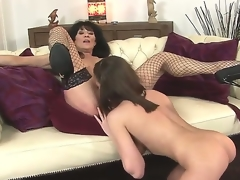 Sympathetic young babe Nelly Sullivan and her experienced dark brown milf Regina in the act