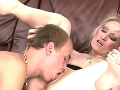 Horny and mad granny named Angeline receives an astounding cunnilingus from her young fucker