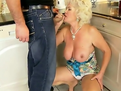 Hot granny named Effie shows her hairy pussy and acquires a young dick in the mouth
