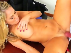 Alec Knight makes his rock solid schlong vanish in sexy bodied Amber Ashlees wet spot