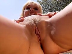 Kate Blond is a horny rich widow and this babe is putting her money to good use. That babe finds herself sexually excited studs like this young stud and this babe makes 'em slam her for some money.