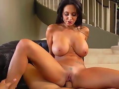 Attractive ramrod hungry black haired curvy milf Ava Addams with large jaw dropping pointer sisters and moist arse in white undies only gives head to Danny Mountain and rides on his pecker.