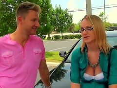 The cute lady in glasses is in need of extra cash, and the guy are ready to help her, but the help doesnt go for free. This babe must do the things decent ladies consider frivolous. But the golden-haired makes up her mind quickly.
