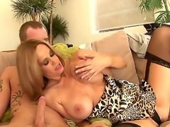 Attractive seductive sexy ass golden-haired milf Absolutely Tabitha with large stunning knockers in arousing underware gets her shaved minge licked and gives precious blowjob to younger horny stud