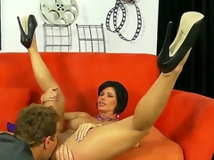 Experienced short haired brunette milf Shay Fox with huge stunning boobs and taut arousing body widen her lengthy sexy legs in high heels and gets her pierced minge licked good