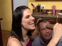 Dark haired milf with great breasts in underware Bobbi Starr takes on a hawt hawt guy Sledge Hammer in the kitchen, gives him a hawt blowjob on her knees while Jimmy Broadway watches