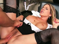 Angela Attison is always ready to receive dirty at her work. That babe denudes her banging love muffins for a nasty titjob and then receives her MILF cunt exploited by a massive cock.