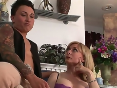 Pretty breasty MILF Nina Hartley is meeting a very special lesbian kitty friend tonight. This time that babe will be getting it on with studly inked diesel dyke Syd Blakovich A!