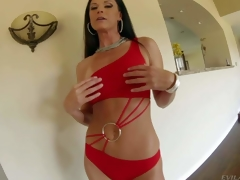 India Summer is a sexy bodied tall darksome haired MILF with slender figure and adorable round ass. Woman in red bends over in front of a curious dude and acquires her a-hole spanked by his schlong with her panties on