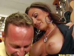 Gracious darksome haired woman gets seduced by MILF Hunter. This babe pulls out her nicely shaped large melons with no shame and then gets her throat filled with cock. Watch buxom mom acquire face fucked