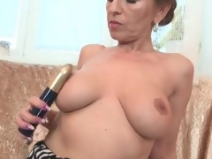 Milf with splendid large mangos fingers her love tunnel