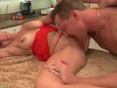 Cocksucking housewife with nice-looking large tits