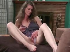 Cute mature in lace pants erotically masturbates
