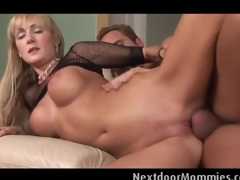 Large breasted golden-haired milf  rides wang