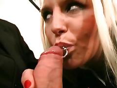 Disrobes her pleasant blonde