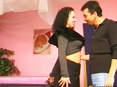 A man treats her tits dark brown on