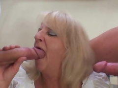 Blond mature in Spicy Threesome porn party