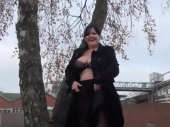 Huge Dilettante milfs public exhibitionism and alfresco chunky flashing of knockers and beaver in A busy roundabout