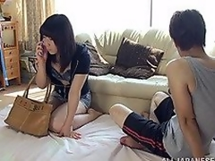 Aroused Japanese milf is visiting her boyfriend for some fast and hot fucking! She is as horny as that guy is and that babe sucks his penis as pretty soon as that babe has it out! When that guy is greater quantity than ready that babe is hopping on his shlong for a snatch pounding and a doggy style fucking to satisfy their carnal needs!