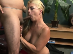 Slutty blonde MILF sucks shlong like a hungry animal before banging