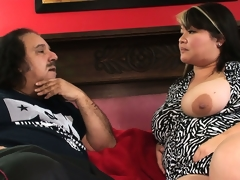 Chubby Oriental courtesan is smitten with the huge dick of Ron Jeremy
