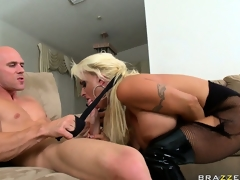 The lascivious blonde sucks his big shlong getting it willing for her taut holes
