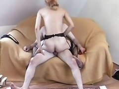 Housewife up a garter thong gets a juicy cumshot on her face