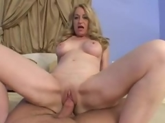 Blonde mature takes his dong in POV