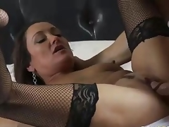 MILF Michelle Lay in darksome mesh stockings is sex hungry after  divorce. Johnny Sins is her BF and his knob is big! This babe blows his meat pole and then gets her eager older snatch drilled.