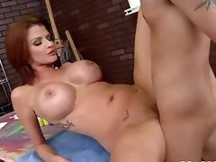 Milfy pornstar Joslyn James with red hair and huge mounds has a nice time with one of her fans who finds his hard cock in her experienced mouth and then unfathomable inside her hot soaked pussy.