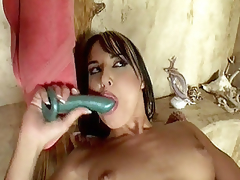 In this movie scene Andy Brown and Jordan were taking a shower together, but in a short time things got heated up between the two and ended up getting in a hot lesbo fuck. The movie scene begins with these hawt milf widening their slits and taking hard dildo showing in their h